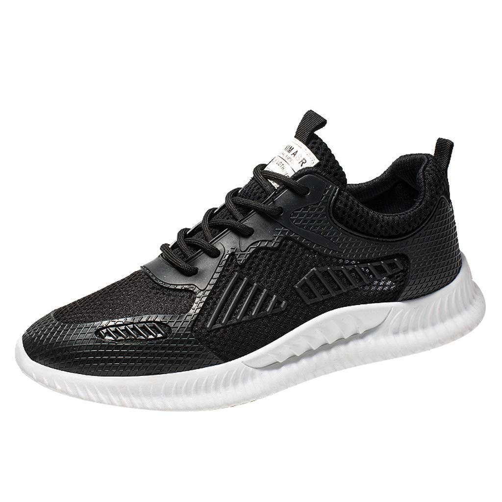 Men's Lightweight Walking Shoes,Mosunx Athletic Mesh Woven Breathable Sneakers Boys Non-Slip Lace Up Solid Sport Gym Trail Running Shoes (7 M US, Black)