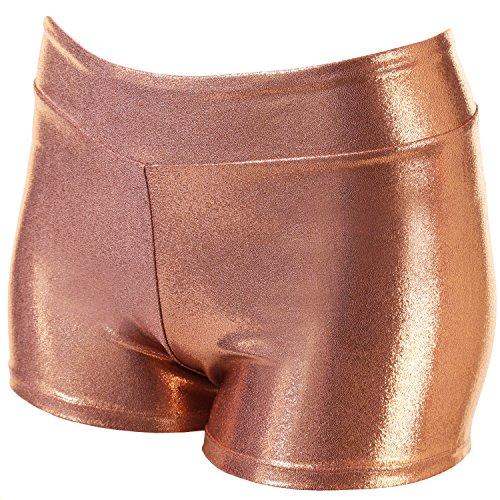 VEVA Kosmo Gymastics Dance Mystique Metallic Shorts for Women Golden Brown L ()