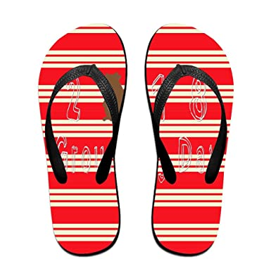 Unisex Non-slip Flip Flops Groundhog Take Photos In Stripe Cool Beach Slippers Sandal