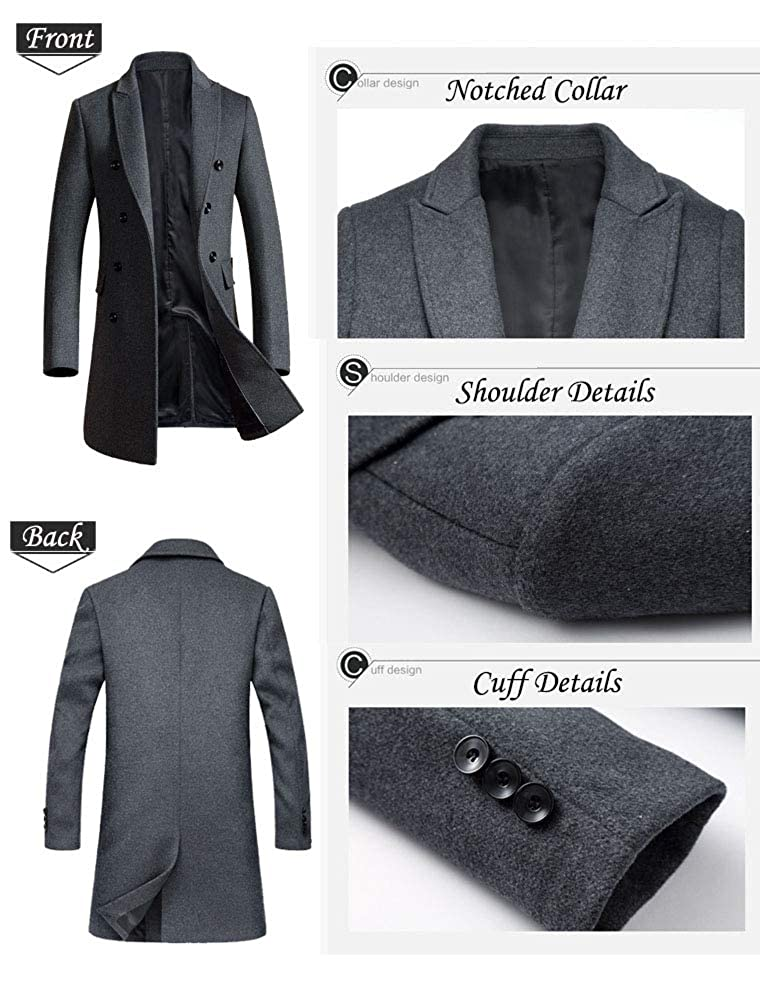 Mordenmiss Mens Premium Double Breasted Woolen Pea Coat Notched Collar Overcoat