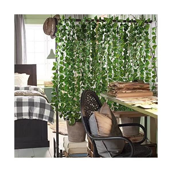 GTIDEA-Fake-Vines-12-Pack-84-Feet-Artificial-Hanging-Plants-Silk-Green-Leaf-Garlands-Home-Office-Garden-Outdoor-Wall-Greenery-Cover-Jungle-Party-Decoration