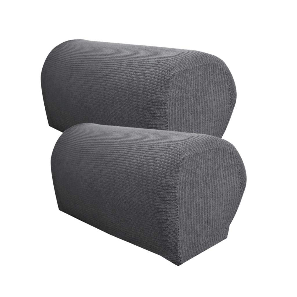 B Blesiya Set Of 2 Non Slip Stretch Furniture Armrest Cover Protector Fits Square Curved Armchair Recliner Chair Arm Sofa Deep Grey