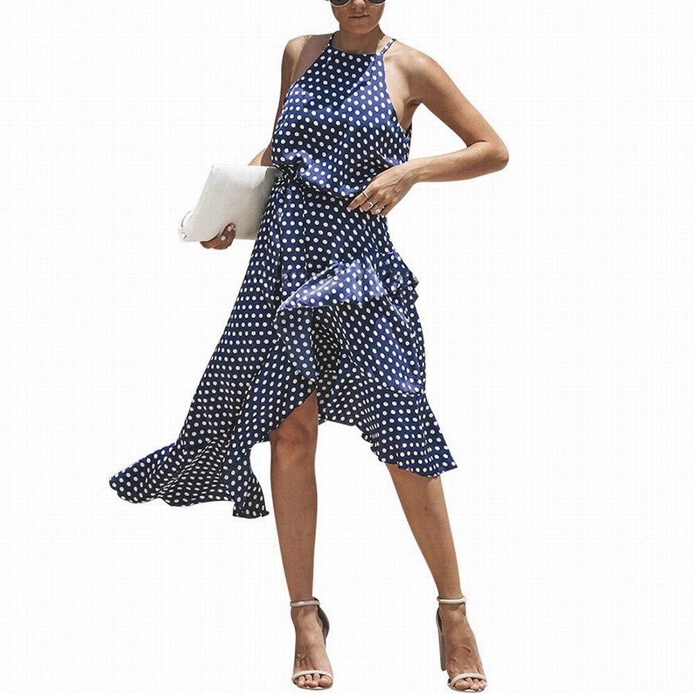 bluee YY4 Women's Sexy Halter Neck Polka Dot Irregular Dress