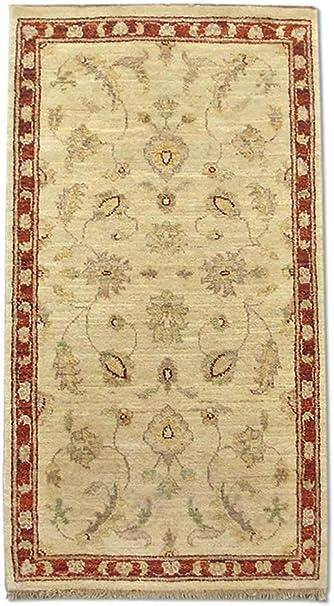 Pak Persian Rugs Alfombra de Nudo Mano Agra, Blanco, Lana, 68 x 127 cm: Amazon.es: Hogar