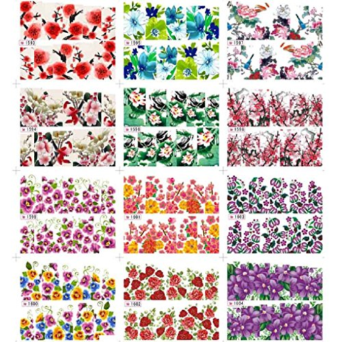 Nail Art Stickers, Sandistore 12pcs Flower Water Transfer Women Manicure Nail Art Stickers DIY Tips Decoration (#4) (Nail Art Decals compare prices)