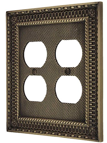 Double Duplex Solid Brass Switchplate - Pisano Double Gang Duplex Outlet Cover in Antique Brass