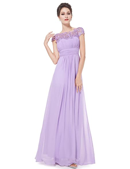 Ever-Pretty Womens Lacey Empire Waist Floor Length Prom Dress 6 US Light Purple