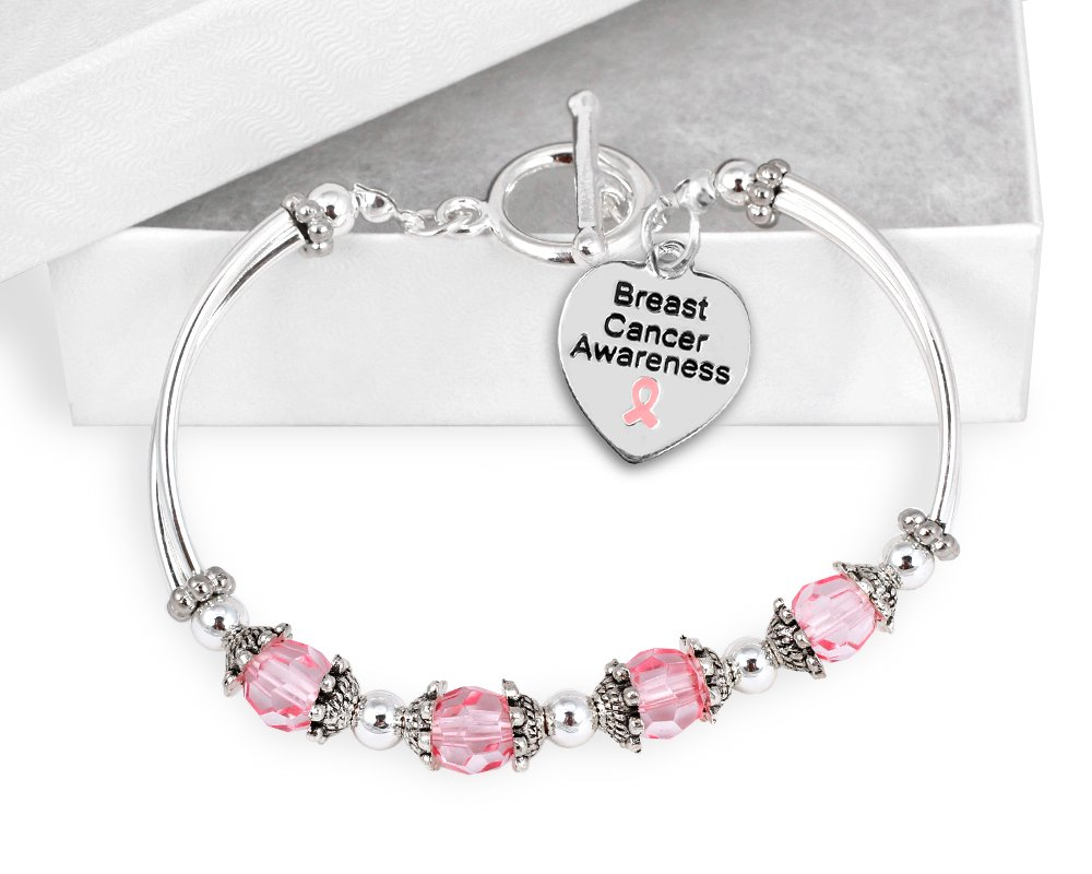 10 Pack Breast Cancer Awareness Partial Beaded Bracelets (10 Bracelets Individually Bagged) by Fundraising For A Cause