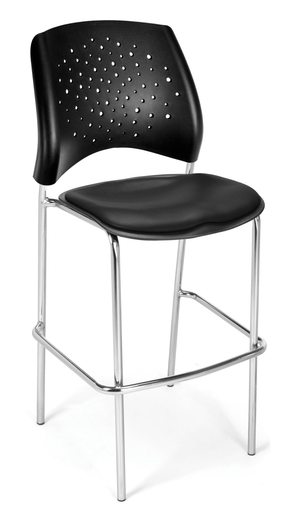Set of 2 Cafe Height Vinyl Chair Black Vinyl/Silver Dimensions: 21.5''W x 23''D x 45.75''H Weight: 103 lbs