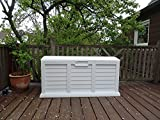 Garden Box Cushion Box 103 Gallon with Handle and Wheels Color Granite White