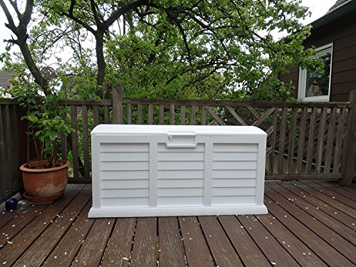 Garden Box Cushion Box 103 Gallon with Handle and Wheels Color Granite White by Starplast