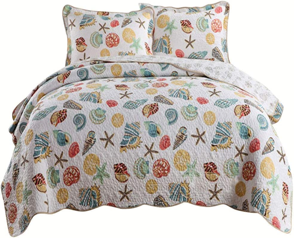 AMWAN Reversible Cotton Quilt Bedspread Set King Ocean Theme 3 Piece Bedding Coverlet Set Seashell Conch Starfish Patchwork Quilt Set Cotton All Seasons Blanket King Bedding Collection