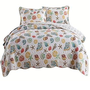Amazon.com: amwan de algodón Floral Impreso Colcha sobrecama ...