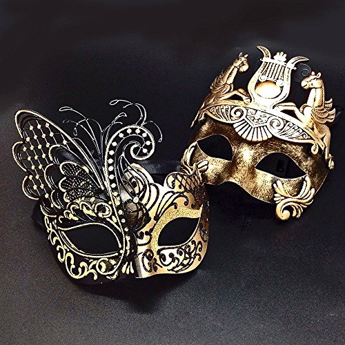 Gold Men Mask and Gold Black Women Mask Couple Venetian Masquerade Mask (Plastic Masquerade Mask)