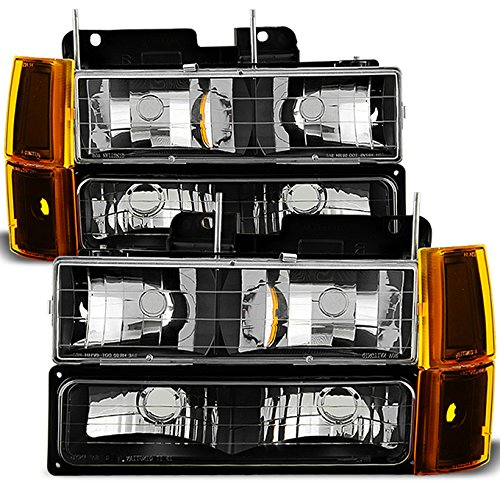 For Black 94-99 GMC Full Size Pickup Truck Suburban Sierra Headlights w/Corner + Bumper Signal Lamps