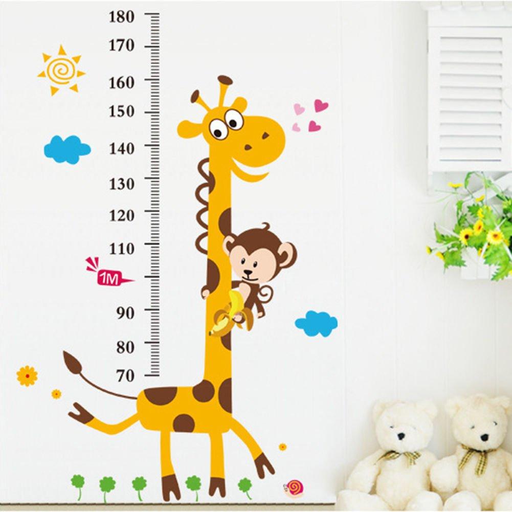 Kids Room Removable Cartoon Animal Giraffe Height Ruler Wall Sticker Wallpaper TH