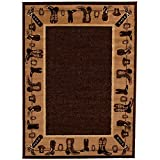 CHAMPION RUGS LODGE CABIN COUNTRY WESTERN THEME COWBOY BOOTS AREA RUG (5 Feet 2 Inch X 7 Feet 3 Inch)