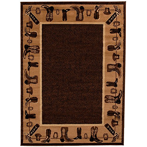Lodge Western Rug - CHAMPION RUGS LODGE CABIN COUNTRY WESTERN THEME COWBOY BOOTS AREA RUG (7 Feet 7 Inch X 10 Feet 6 Inch)