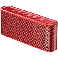 Poliking Touch Control Wireless Bluetooth V4.2 Portable Stereo Speaker with HD Sound and Powerful Bass (Red)
