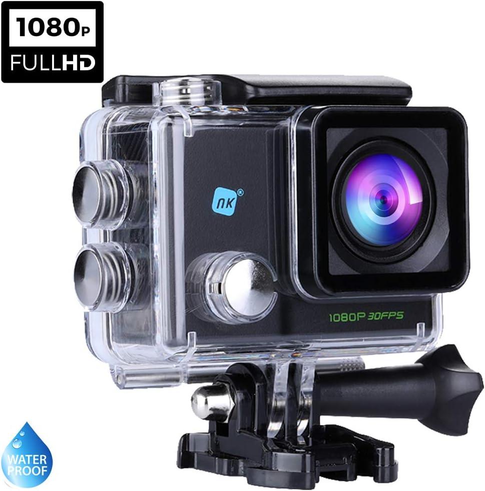 NK Dive Cámara Deportiva subacuática 1080p (Alta Definición), Carcasa Impermeable, 120º 4G, Pantalla LCD, Sensor GC0309, 700mAh Negro (15 Accesorios Múltiples)