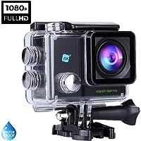 NK Dive Cámara Deportiva subacuática 1080p (Alta Definición), Carcasa Impermeable, 120º 4G, Pantalla LCD, Sensor GC0309, 700mAh, Negro (15 Accesorios Múltiples)