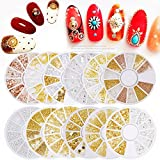 Cattie Girl 12 boxes Rose Gold Rivet Nail Studs 3D Nail Art Decoration Grey Golden Circle Star Round Square Triangle Mixed Accessories in Wheel for DIY