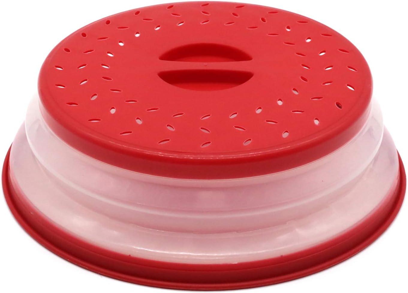 Nifogo Tapa para microondas Plegable Colador Plegable para Platos de microondas colador colador para Frutas Verduras, Bap Libre y no Tóxico (Rojo)