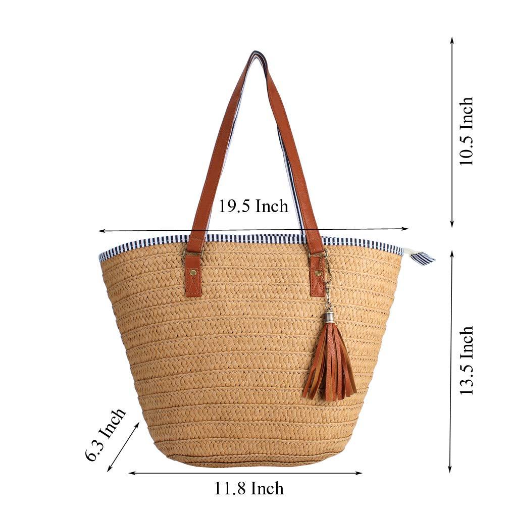 a88a69083087 Sornean Summer Beach Straw Bag Top Handle Shoulder Bag Women Tote with  Tassels (Brown)  Handbags  Amazon.com