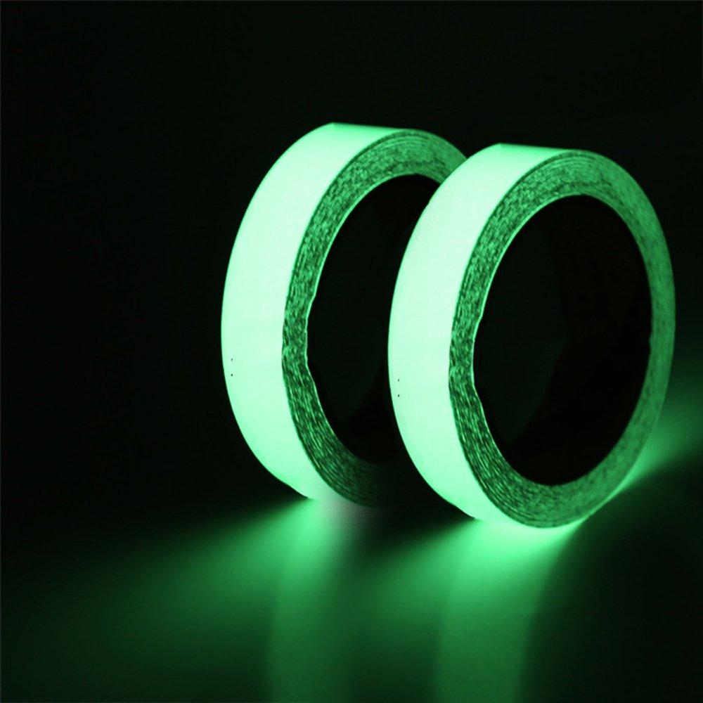 2 Packs Luminous Tape Sticker, 2x Toeoe Glow In The Dark Tape Roll, 10' X 0.8'', Masking DIY Scrapbooking Removable Waterproof Photoluminescent Sticker (2 Pack Glow Tapes)