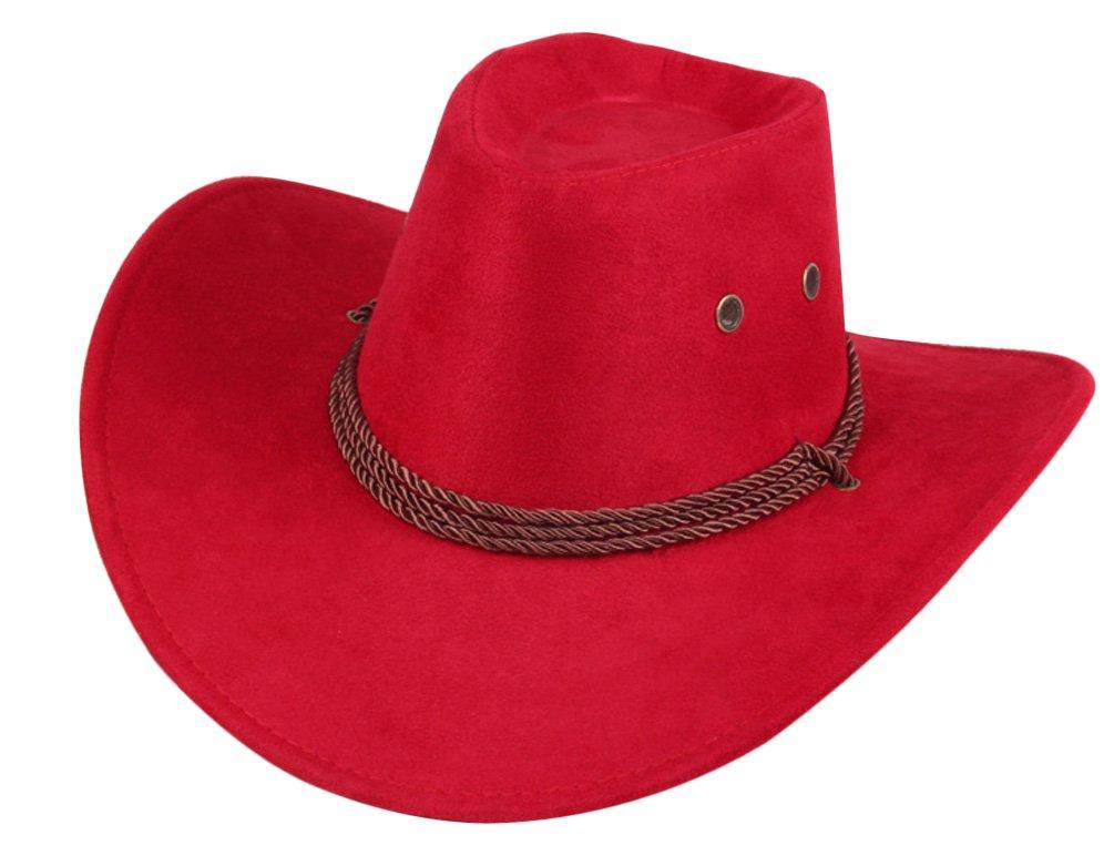 UwantC Mens Faux Felt Western Cowboy Hat Fedora Outdoor Wide Brim Hat with Strap CDTA84126861