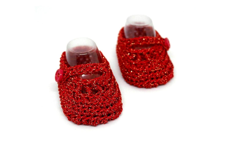 Botines de bebé niña, Zapatos de bebé de ganchillo, Zapatos Mary Jane, Zapatos de verano, Zapatos de bebé rojos, Baby shower de regalo, Niña, ...