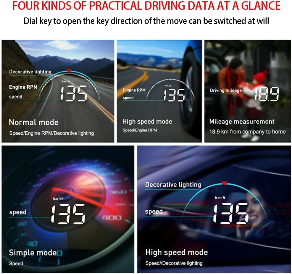 Acouto Head Up Display for Car,Universal Head Up Display HUD Projector Monitor OBD2 HD Digital Meter Auto Instrument