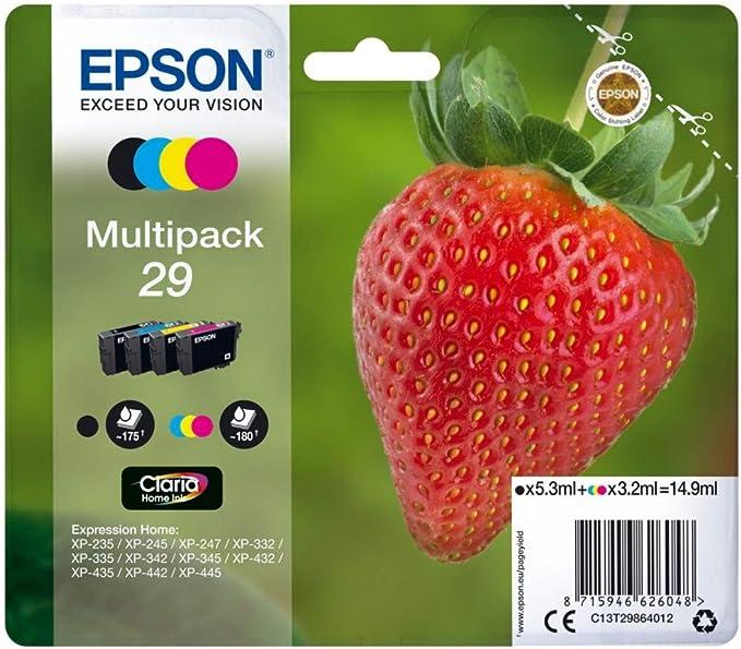 Epson C13T29864012 - Cartucho de tóner para XP235, negro, amarillo, magenta, cian, paquete estándar válido para los modelos XP-235, XP-245, XP-247 y ...