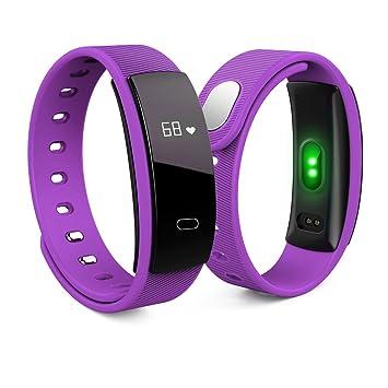 LongYu Reloj Inteligente Frecuencia cardíaca Movimiento de oxígeno Cuenta Paso Impermeable Brazalete de Salud QS80 (Azul, marrón, Negro, Naranja, ...