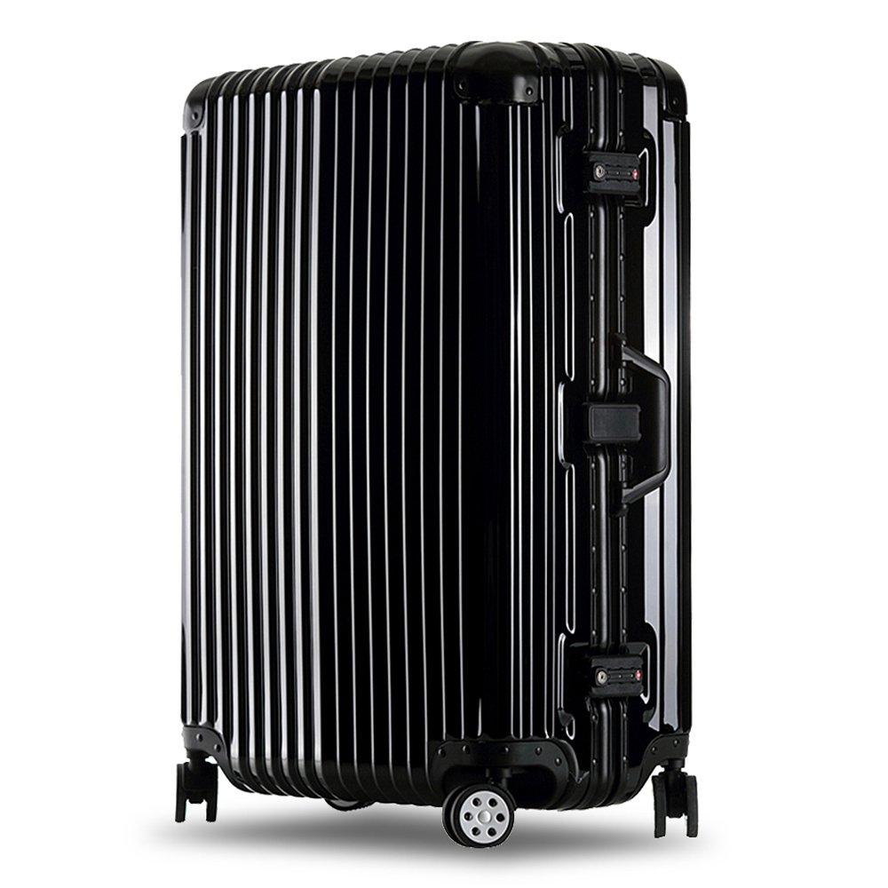 クロース(Kroeus)スーツケース キャリーケース 耐衝撃 仕切り板 クロスベルト付き メッシュポケット 海外旅行 出張 360度静音キャスター 保護用ガード TSAロック 大容量 B0752C4P6Y L|ブラック ブラック L