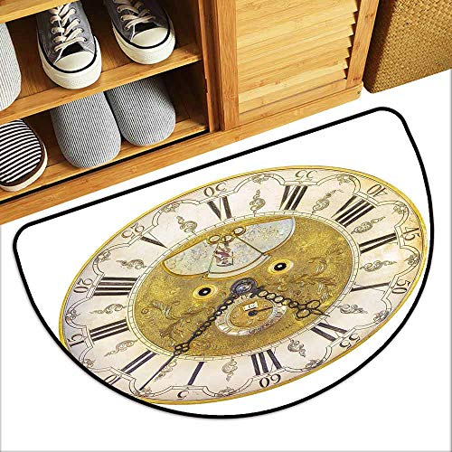 Clock Cobalt Plate Blue (YOFUHOME Clock Thin Door mat Vintage Theme A Seventeenth Century Ornamental Clock Face with Roman Numbers Mildew Proof W29 x L17 Gold and Black)