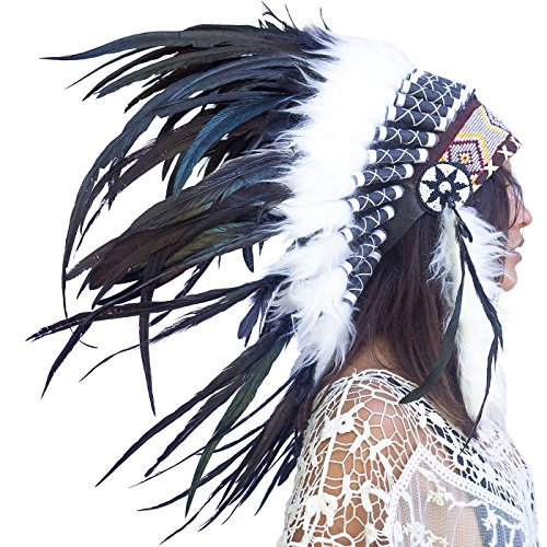 Feather Headdress- Native American Indian Style- Handmade by Artisan Halloween Costume for Men Women with Real Feathers - Black Rooster -