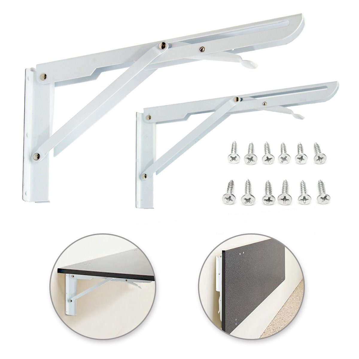 KINGSO 2 Pack White Fordable Steel Shelf Brackets,Industrial Hanging Book Shelf,Cold Rolled Steel Coat Finish Heavy Duty Folding with Mounting Screws Max Load 130lb