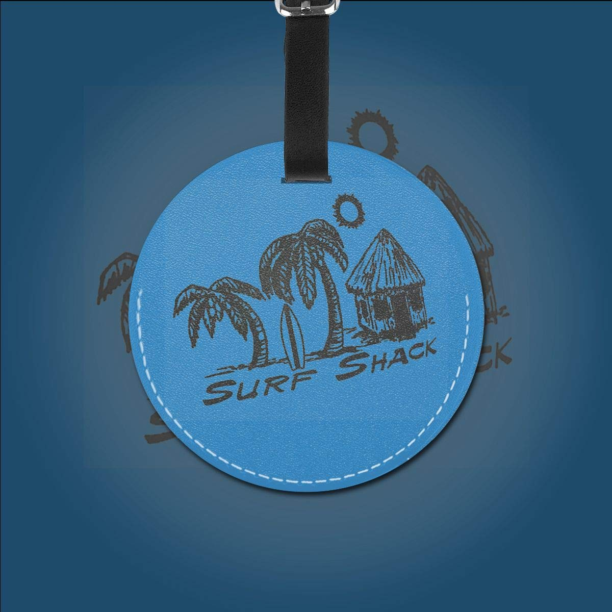 1pcs,2pcs,4pcs Surf Shack Pu Leather Double Sides Print Round Luggage Tag Mutilple Packs