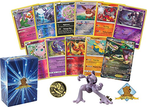 30 Assorted Pokemon Card Pack Lot - Featuring 1 Legendary Pokemon Figure and 1 Legendary EX! 1 Coin! Foils Rares! Includes Golden Groundhog Box!