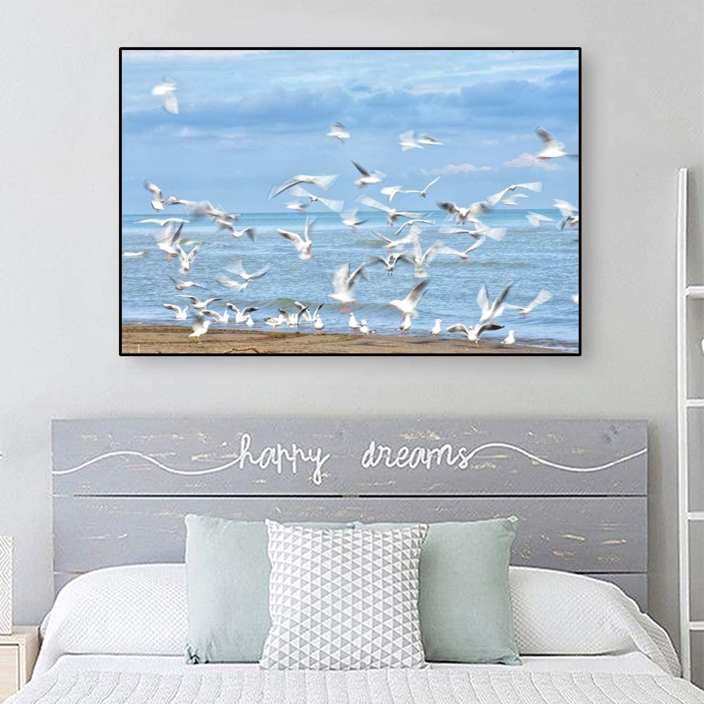 Oil Painting 10x8 inches seascape black Labrador Retriever pet nautical sea dunes sea gulls buoys sand framed barn wood