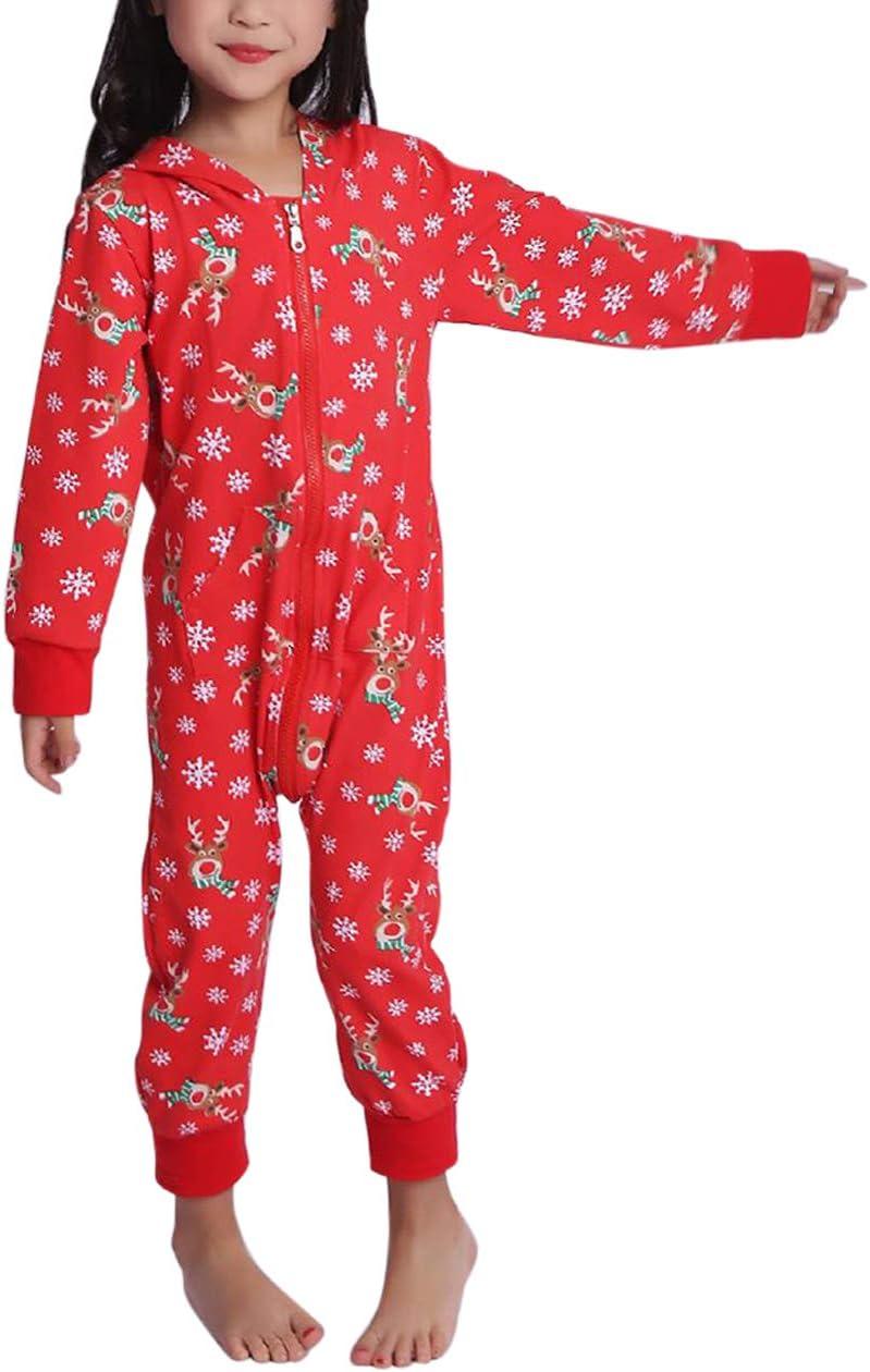 besbomig No/ël Ensemble Pyjama Imprim/é Encapuchonn/é V/êtements Maison Jumpsuit Pyjamas Matching pour Femmes Hommes Filles et Gar/çons