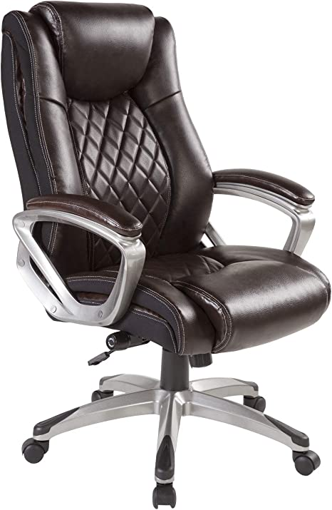Amazon Com Bowthy Big And Tall Office Chair 400lbs Computer Ergonomic Desk Chair With Adjustable Lumbar Support High Back Executive Task Swivel Leather Chair Brown Kitchen Dining