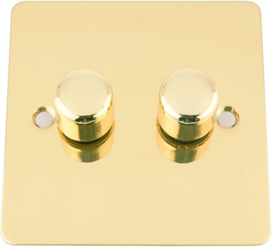 A5 10 A, 2 v/ías, 400 W, lat/ón pulido Interruptor regulador de intensidad de luz