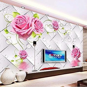 Ohcde Dheark Modische Interior Design 3D Stereo Wassertropfen Blumen  Wandbild Tapeten Wohnzimmer Fernseher Sofa Hintergrund Mauer