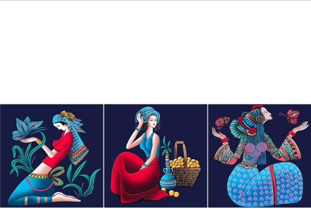 Tríptico Arte De La Pared Lienzo 3 Piezas Europea Retro Mujer Flores Mariposa Tríptico Cuadro Moderno Corredor Dormitorio Trípticos De Salon Decoracion Mural Pintura Al Óleo-B2