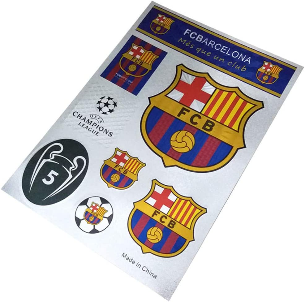 Football Club Soccer Team Logo Stickers Car Glass/Wall/Laptop/Favorite Items Sticker Decal (FC Barcelona, 7.5-10.6 inch)