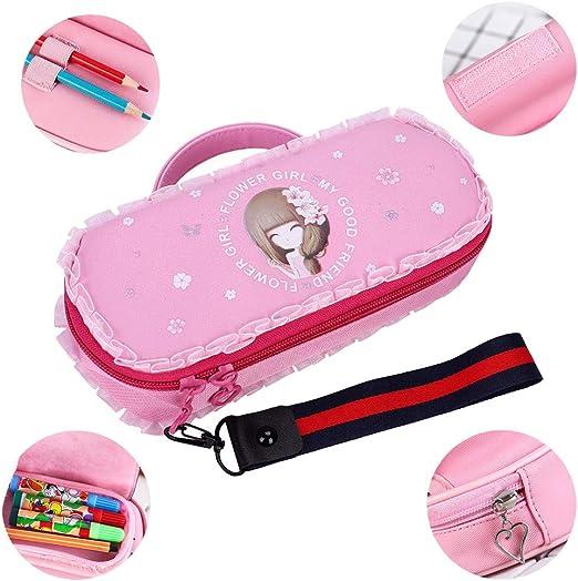 Estuche portátil para lápices con cremallera, con compartimentos para bolígrafos, sacapuntas, reglas, gomas de borrar, color rosa: Amazon.es: Oficina y papelería