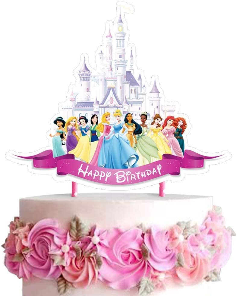 Decorations for Princess Cake Topper Birthday Party Supplies Decor, Castle