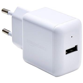 AmazonBasics – Cargador USB de pared de un puerto (2,4 amperios), Blanco